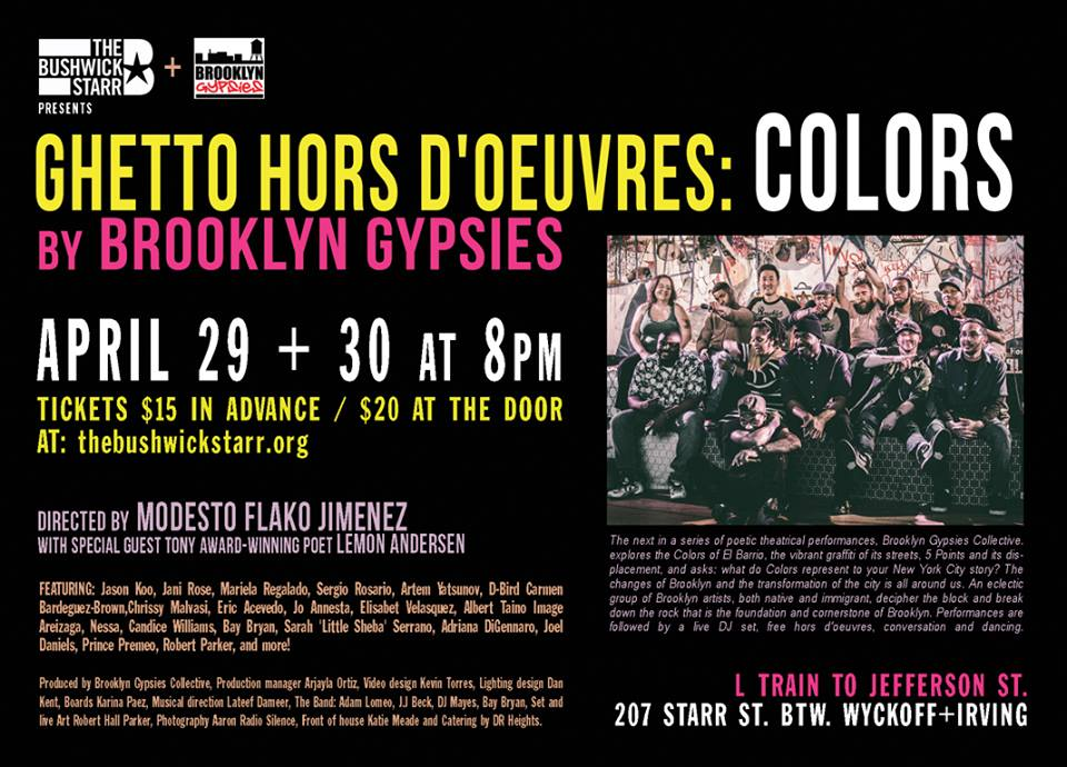 Brooklyn Gypsies Ghetto Hors D' oeuvres: COLORS April 30, 16 Flyer 2