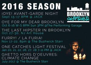 Brooklyn Gypsies 2016-7 Schedule Flyer