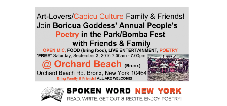 Capicu Culture's Annual People's Poetry in the Park Bomba Fest @ Orchard Beach(BX) – Sept 3, 2016