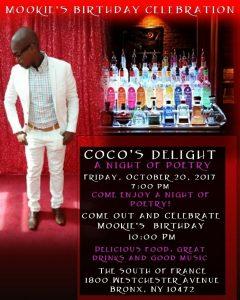 Coco's Delight Oct 20, 17 Mookie Mania flyer