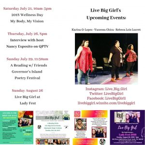 Live Big Girl Summer 2018 Upcoming Events flyer
