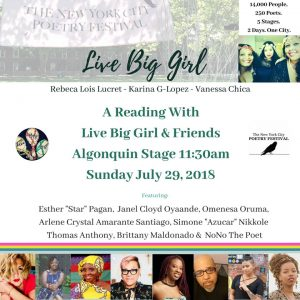 Live Big Girl with Friends NYC Poetry Fest July 29, 18 flyer