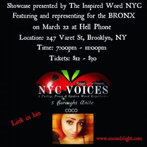 Inspired Word NYC NYC Voices feat Coco March 22, 19 flyer