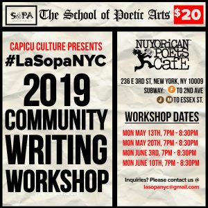 La Sopa NYC May June 2019 Writing Workshop flyer