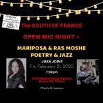 South of France Feb 21, 2020 Juke Joint Open Mic flyer
