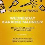South of France Karaoke Wednesdays flyer